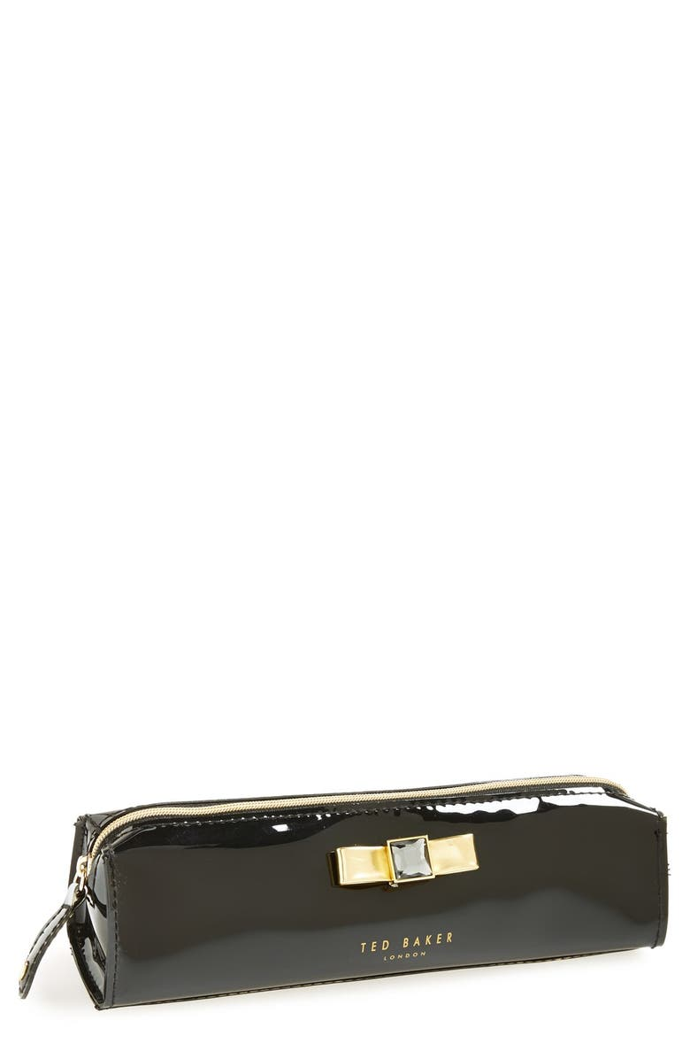 TED BAKER LONDON 'Metallic Bow' Pencil Case, Main, color, 001