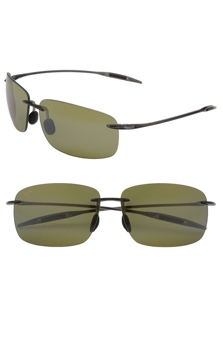 MAUI JIM Breakwall 63mm PolarizedPlus2<sup>®</sup> Rimless Sunglasses, Main, color, SMOKE GREY