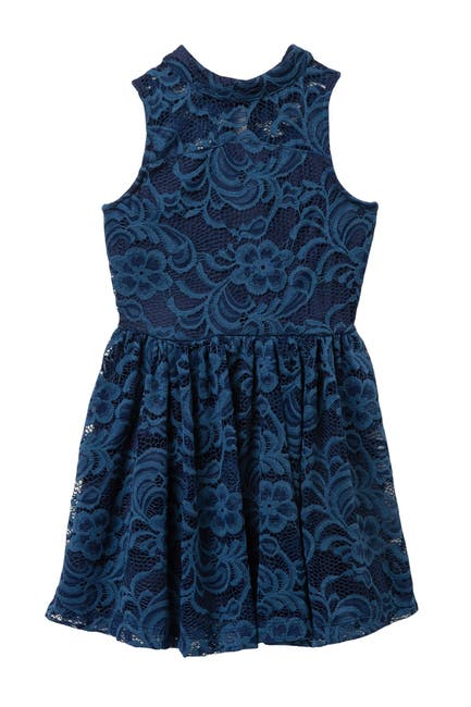 Image of AVA AND YELLY Mock Neck Lace Skater Dress