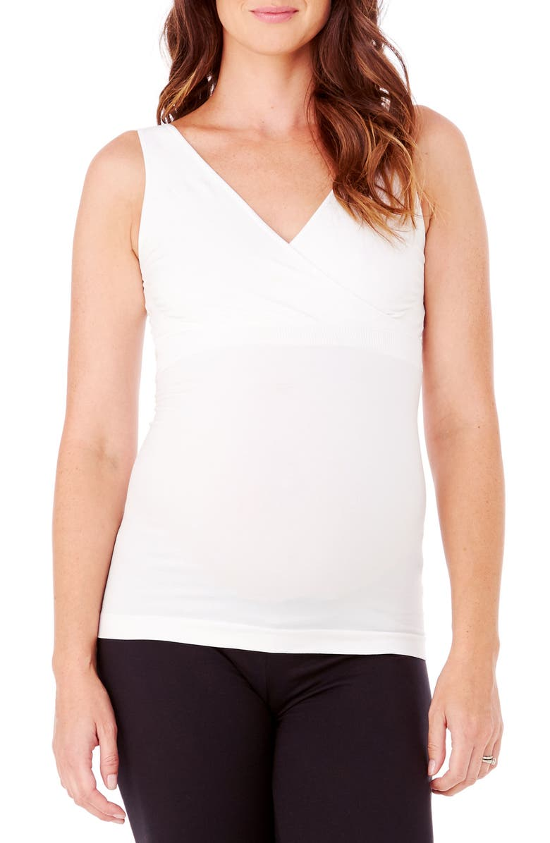 INGRID & ISABEL<SUP>®</SUP> Crossover Maternity/Nursing Tank, Main, color, WHITE