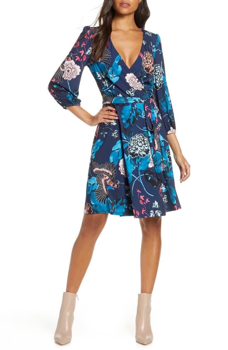 ELIZA J Floral Print Faux Wrap Dress, Main, color, NAVY