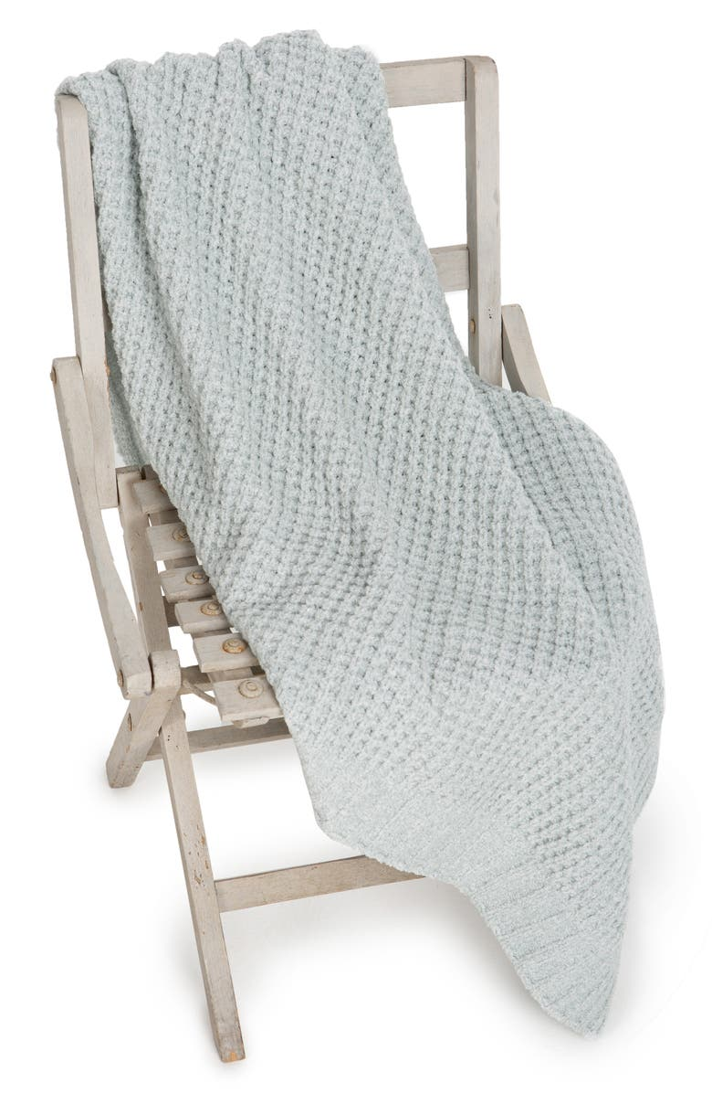 BAREFOOT DREAMS<SUP>®</SUP> Waffle Knit Baby Blanket, Main, color, HEATHERED SEA GLASS
