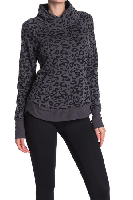 Image of 90 Degree By Reflex Terry Bushed Cowl Neck Sweatshirt