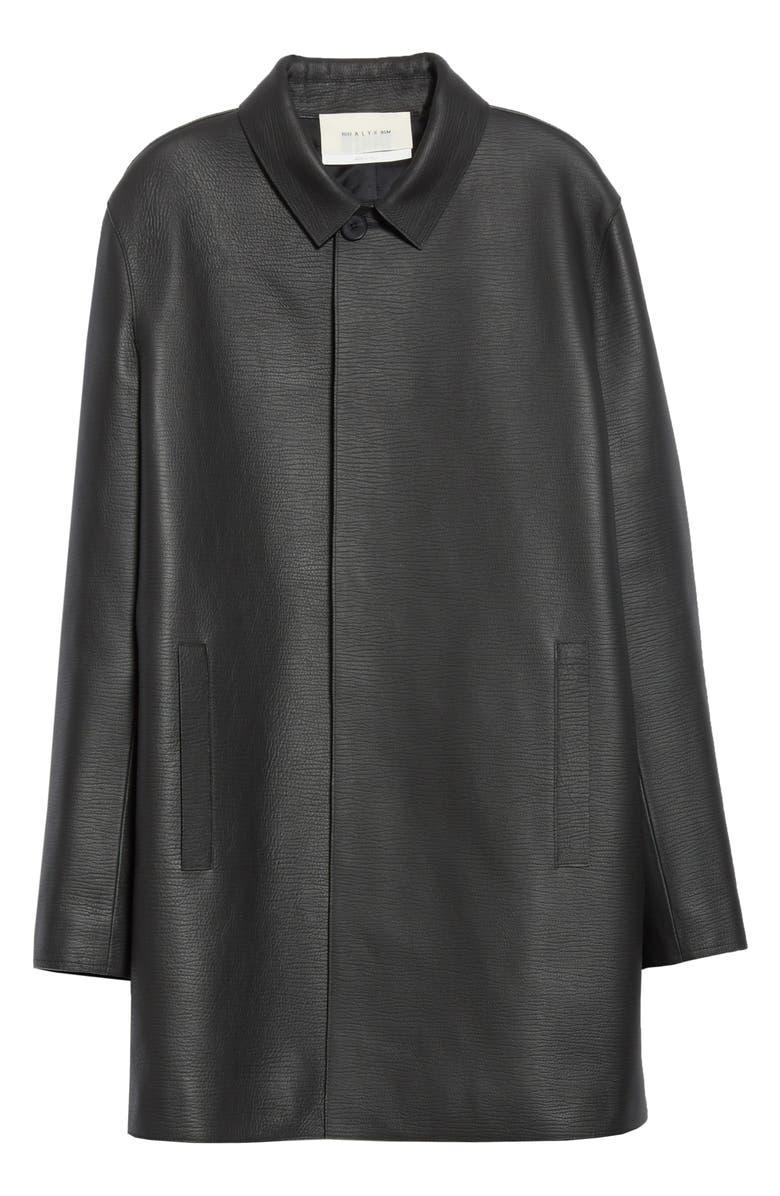 1017 ALYX 9SM Leather Coat, Main, color, BLACK