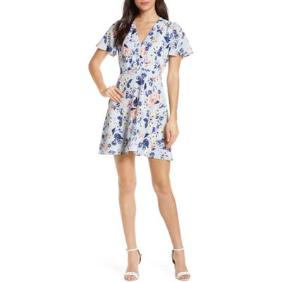French Connection Armoise Floral Crepe Fit & Flare Dress, Blue