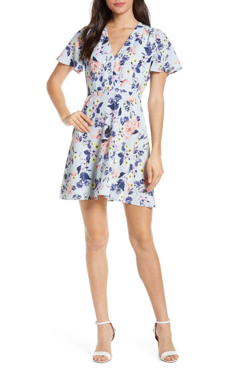 French Connection Armoise Floral Crepe Fit Flare Dress