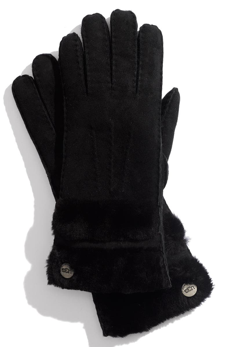 UGG<SUP>®</SUP> Australia 'Classic' Genuine Shearling Gloves, Main, color, 001