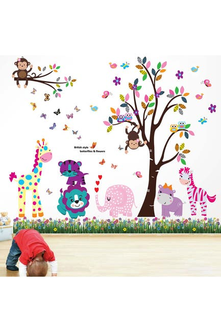Image of WalPlus Happy Animals Tree with Butterfly Grass Wall Sticker Decal