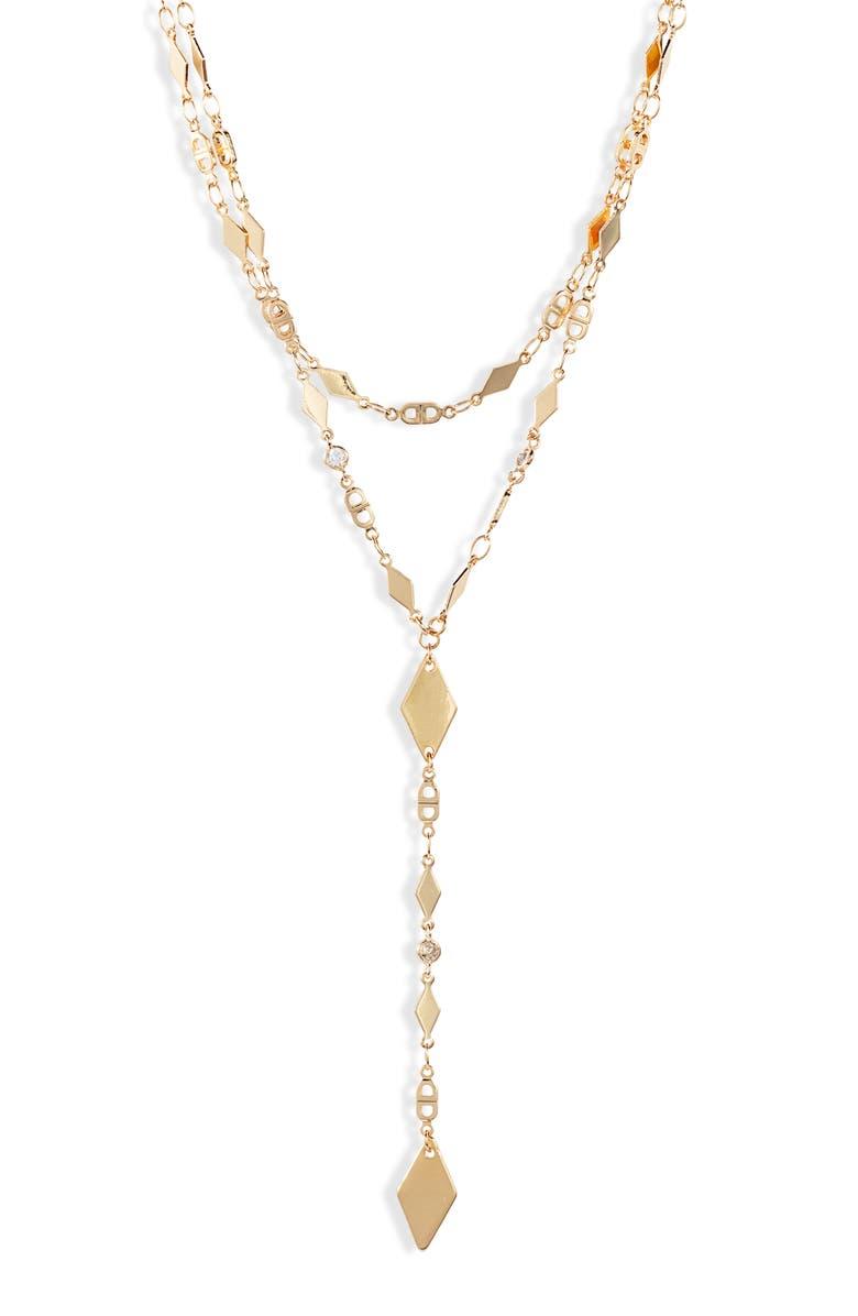 ETTIKA Layered Lariat Necklace, Main, color, GOLD