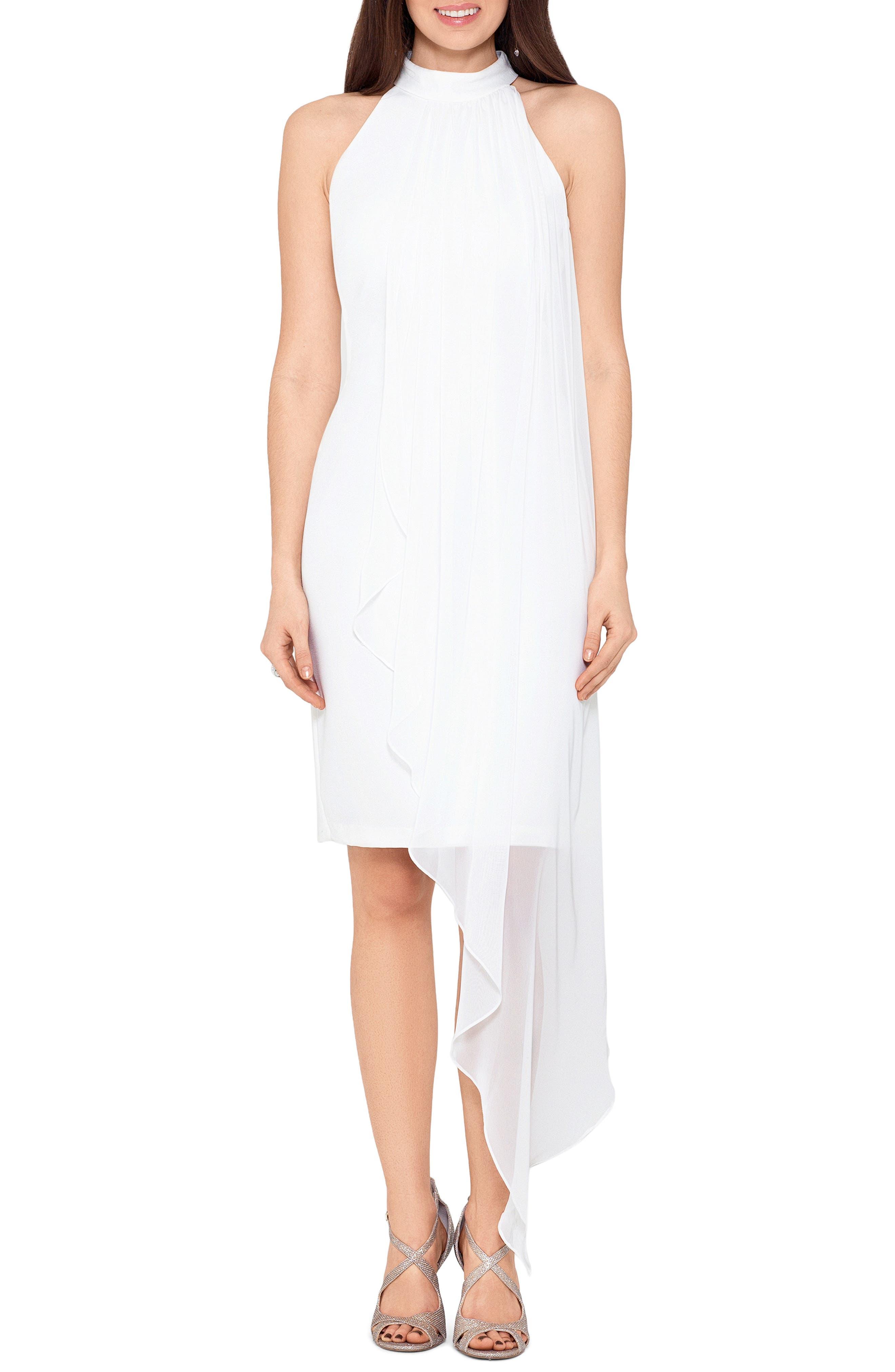 Asymmetrical Chiffon Overlay Crepe Dress