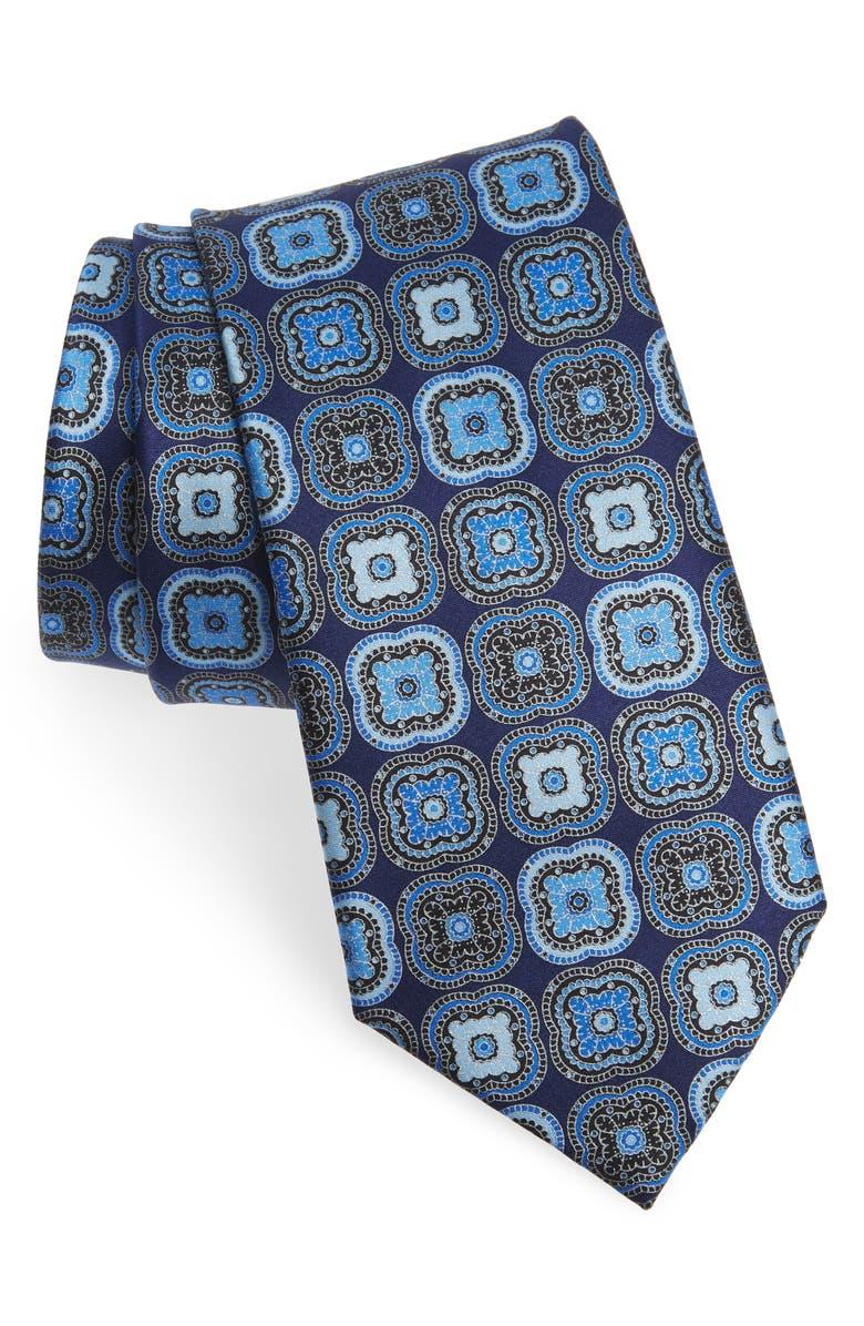 ERMENEGILDO ZEGNA Medallion Silk Tie, Main, color, NAVY FAN