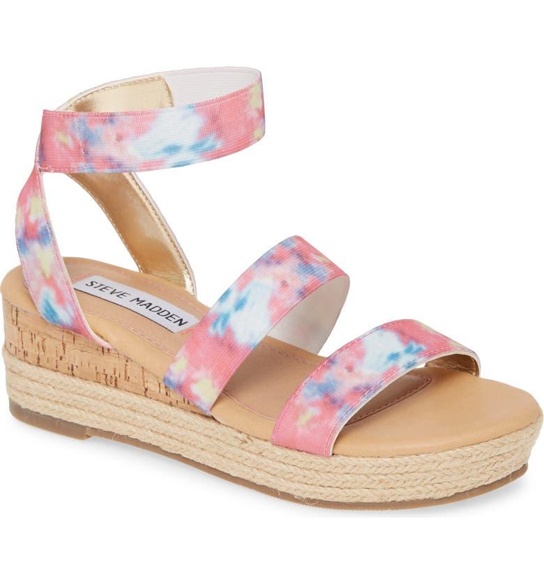 STEVE MADDEN JBandi Wedge Sandal, Main, color, PASTEL TIE DYE