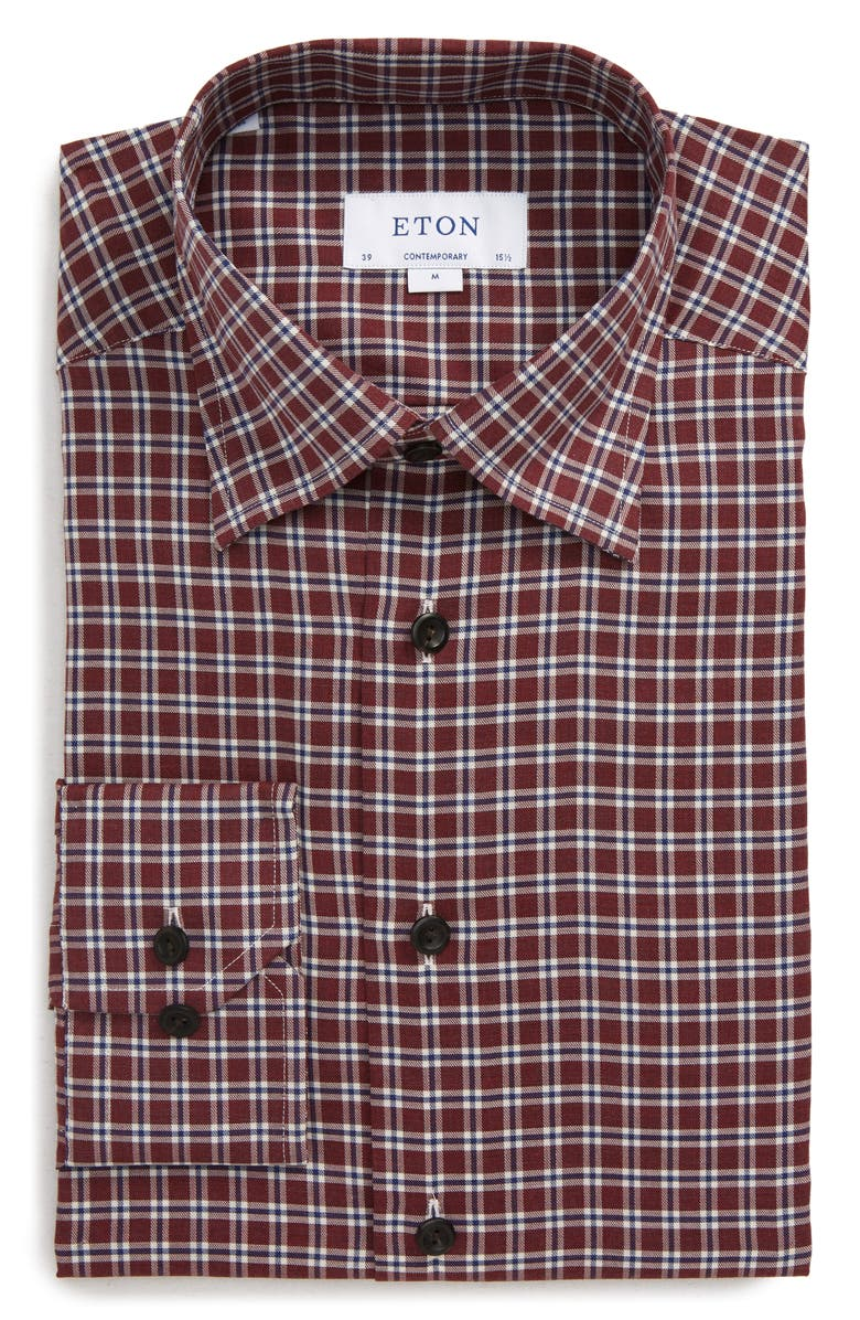 ETON Contemporary Fit Plaid Dress Shirt, Main, color, PINK/ RED
