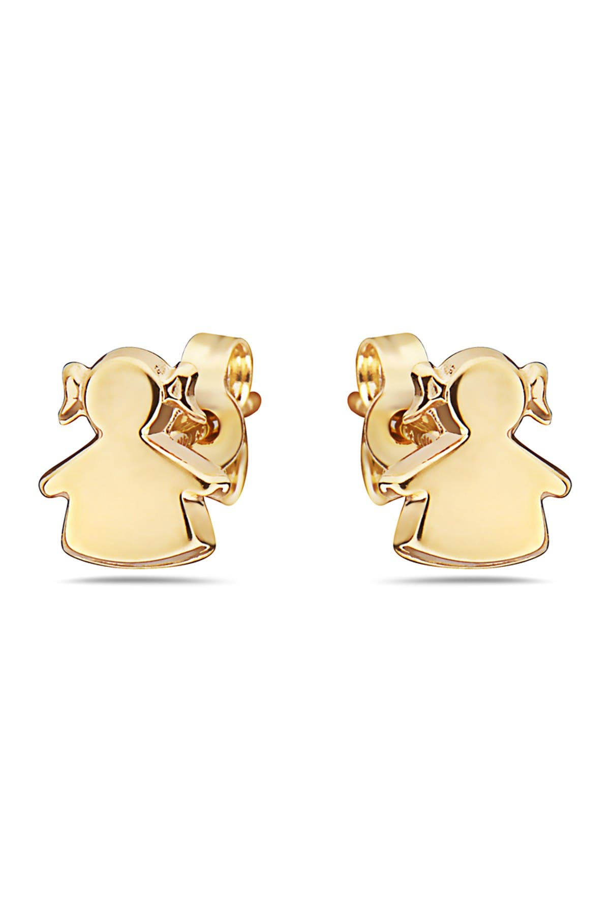 Image of Best Silver Inc. 14K Yellow Gold Girl Stud Earrings