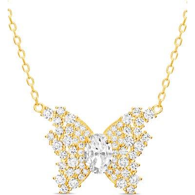 Lesa Michele Pave Butterfly Pendant Necklace