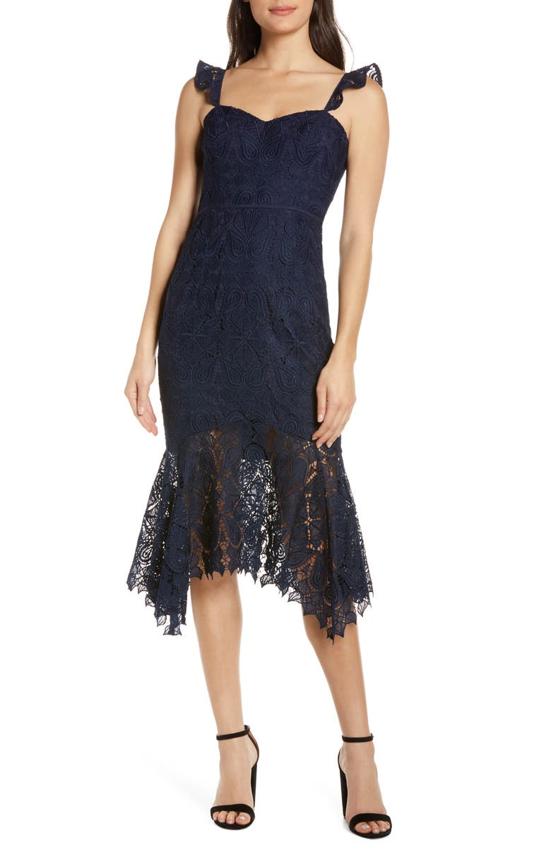 EVER NEW Rosa Handkerchief Hem Lace Midi Dress, Main, color, NAVY