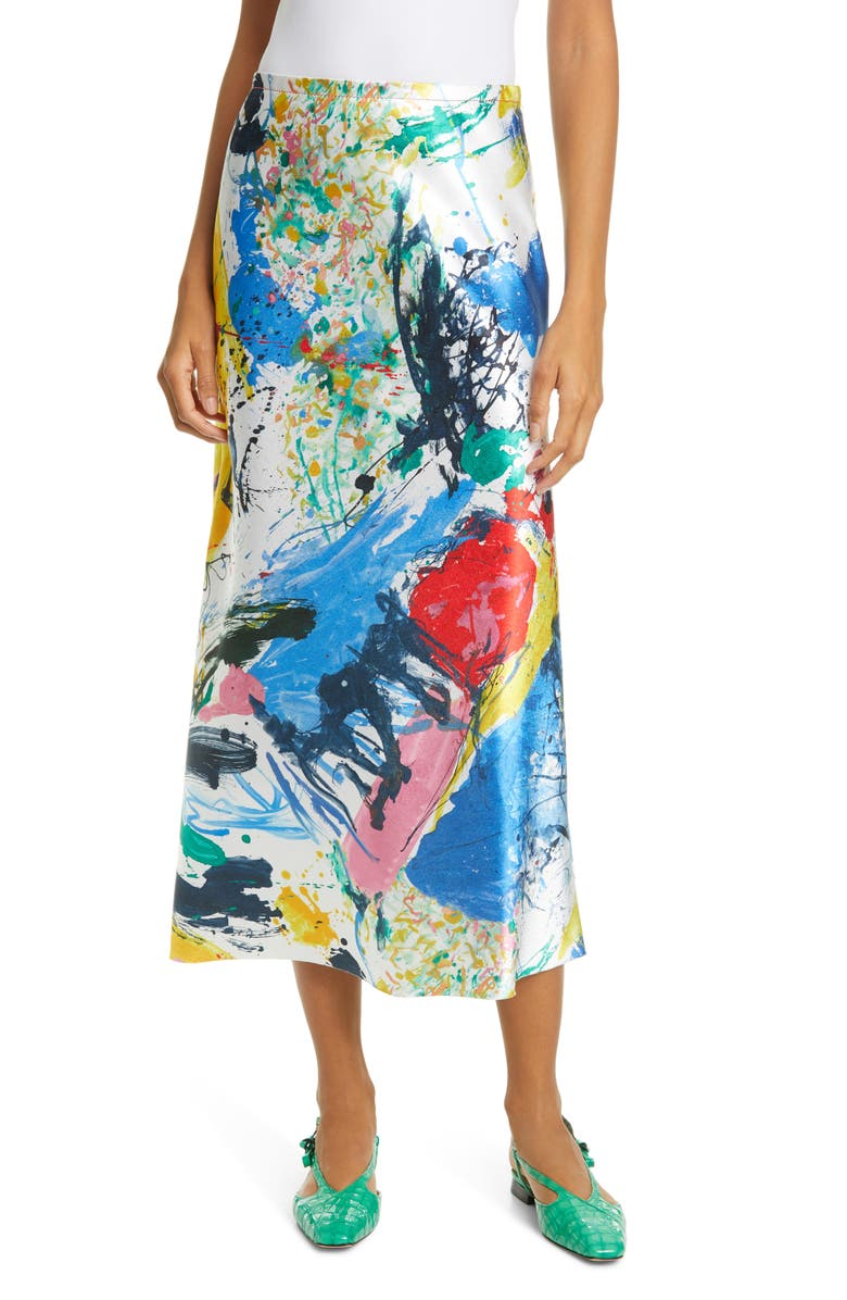 SIES MARJAN Paint Print Satin Midi Skirt, Main, color, 100