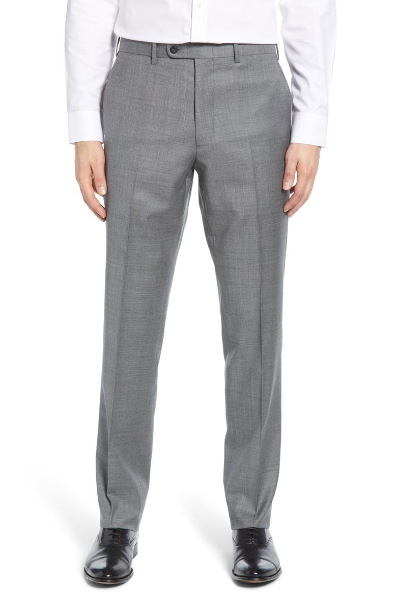 JOHN W. NORDSTROM<SUP>®</SUP> Torino Flat Front Sharkskin Stretch Wool Trousers, Main, color, GREY SHADE SHARKSKIN