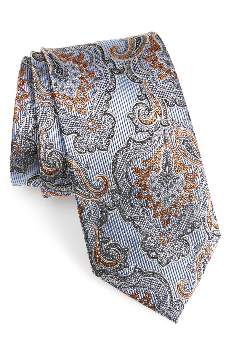 NORDSTROM MEN'S SHOP Paisley Silk Tie, Main, color, LIGHT BLUE
