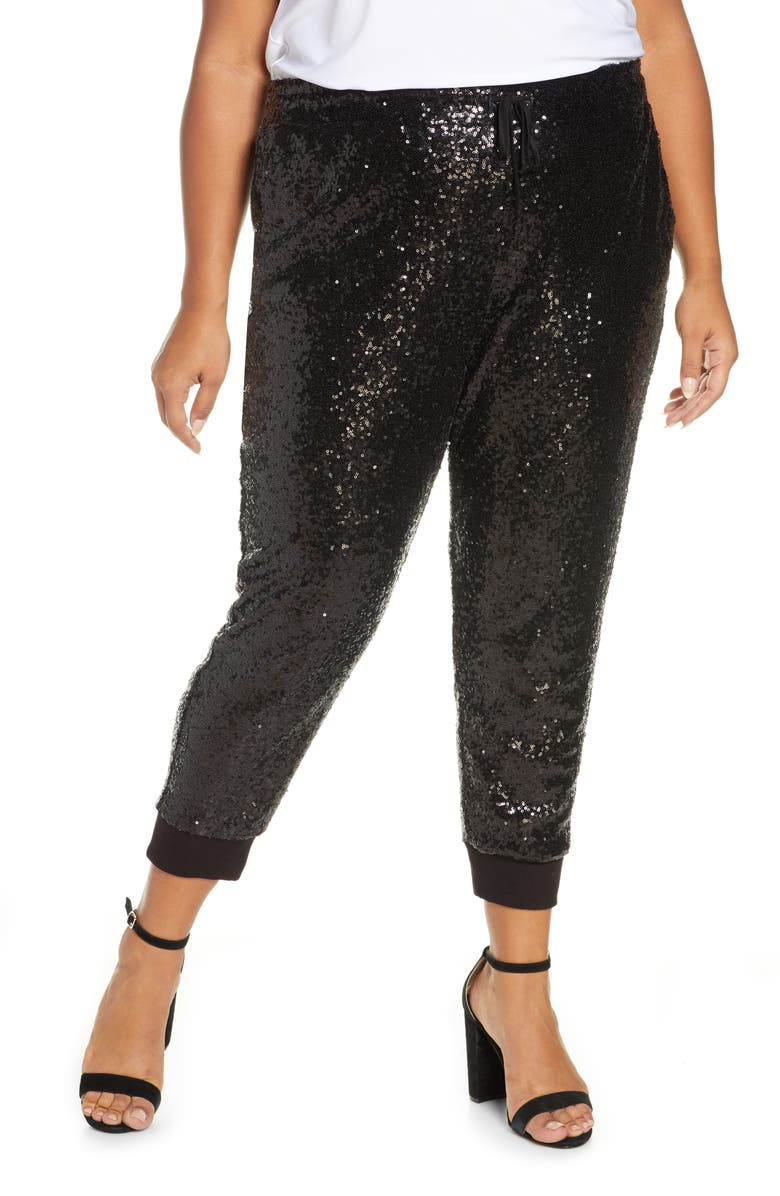 GIBSON x Glam Fancy Ashley Sequin Jogger Pants, Main, color, 001