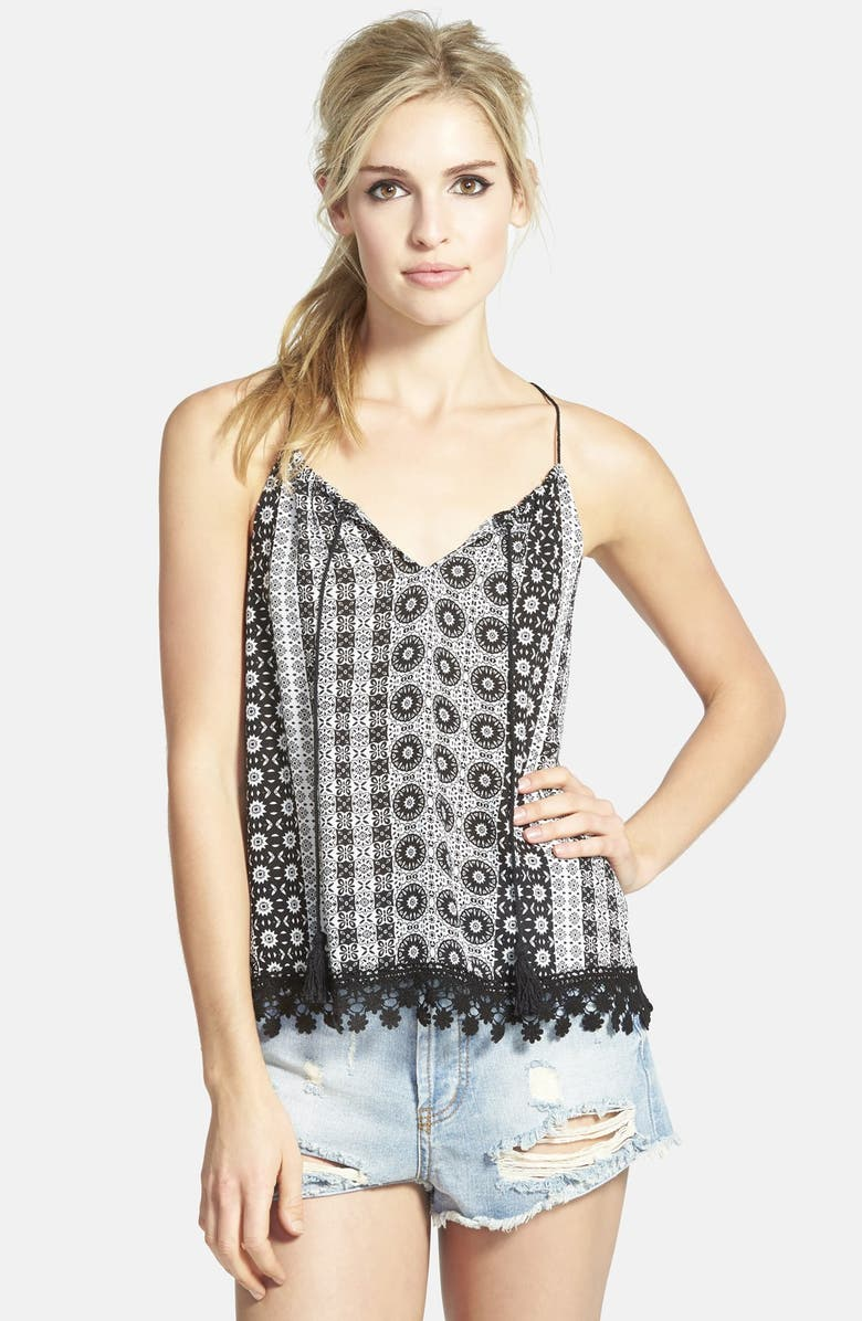 ASTR THE LABEL ASTR Crochet Trim Tank with Tassels, Main, color, 101