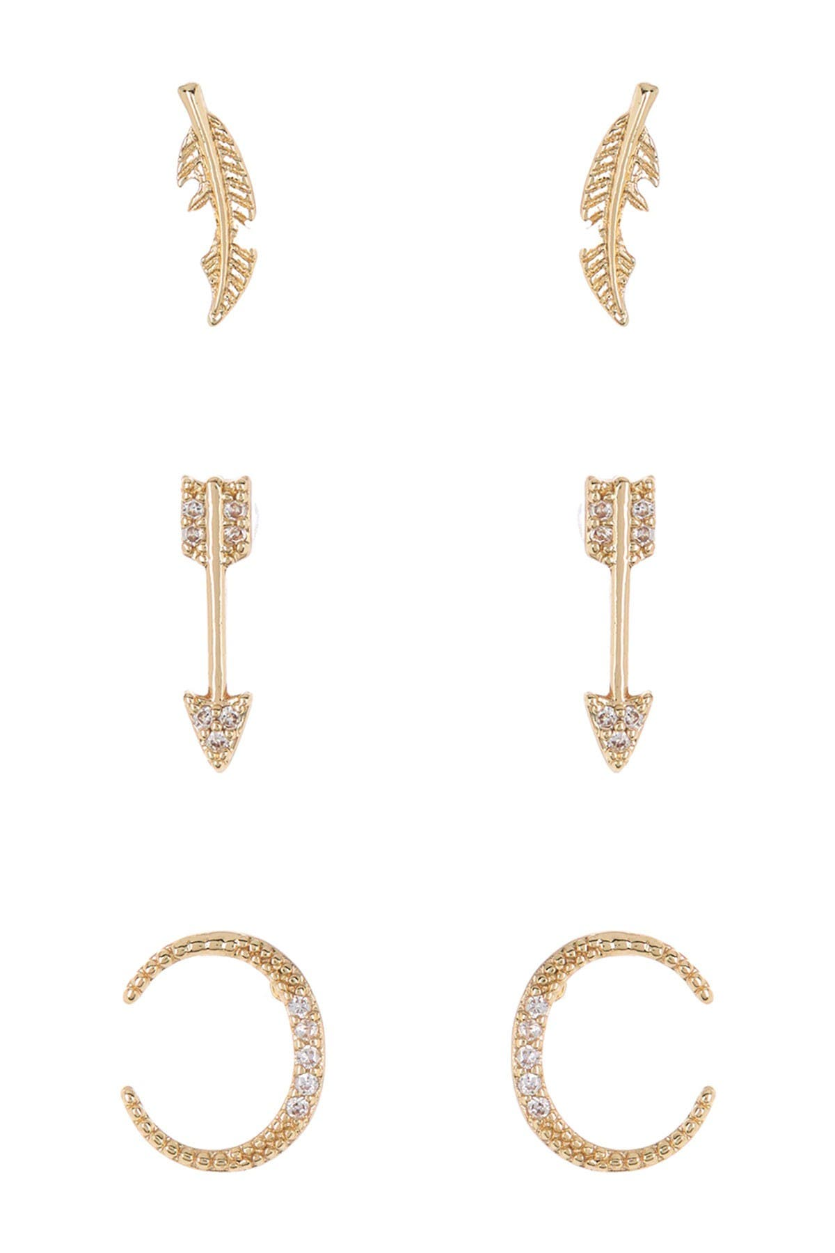 Image of Loren Olivia 14K Yellow Gold Plated Brass Arrow Stud Earrings - Set of 3