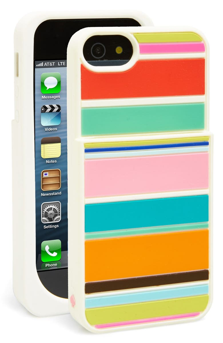KATE SPADE NEW YORK 'beach stripe pocket' iPhone 5 & 5s case, Main, color, 660