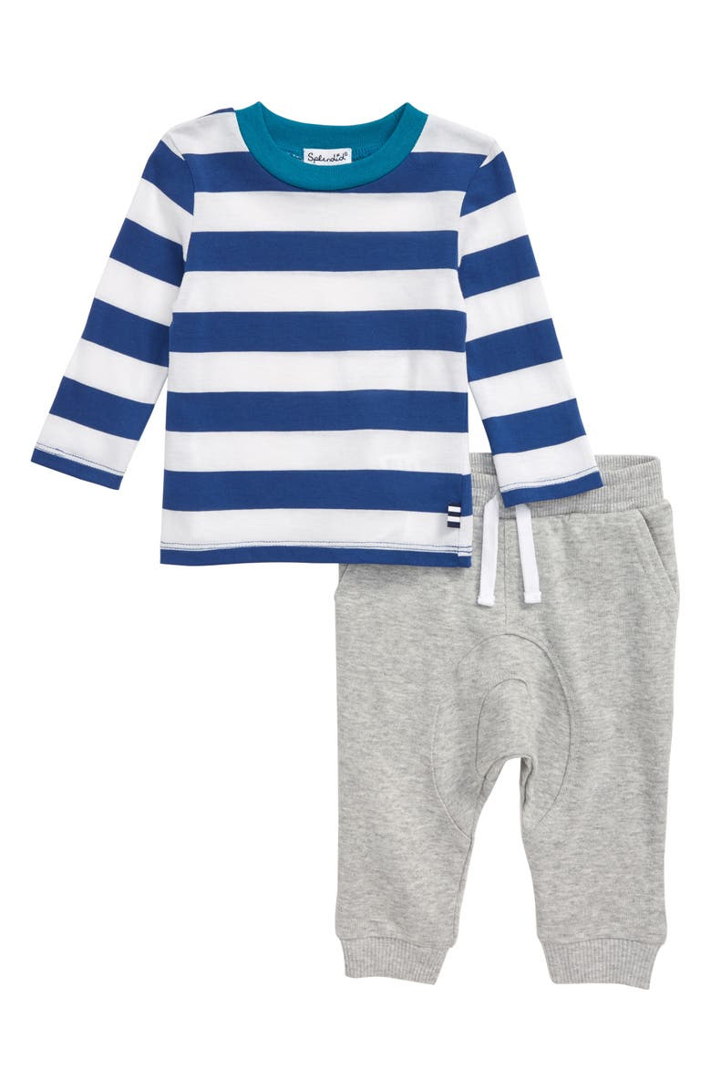 SPLENDID Stripe T-Shirt & Pants Set, Main, color, ROYAL SAPPHIRE