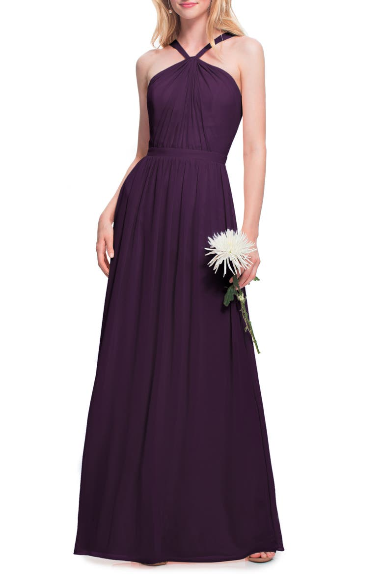 #LEVKOFF Halter Neck Chiffon Gown, Main, color, PLUM