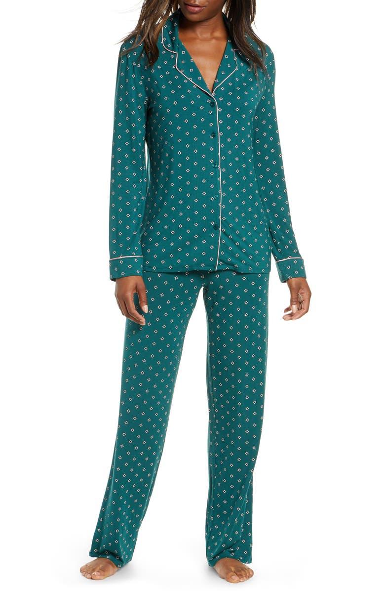 NORDSTROM LINGERIE Moonlight Pajamas, Main, color, GREEN BUG FOULARD