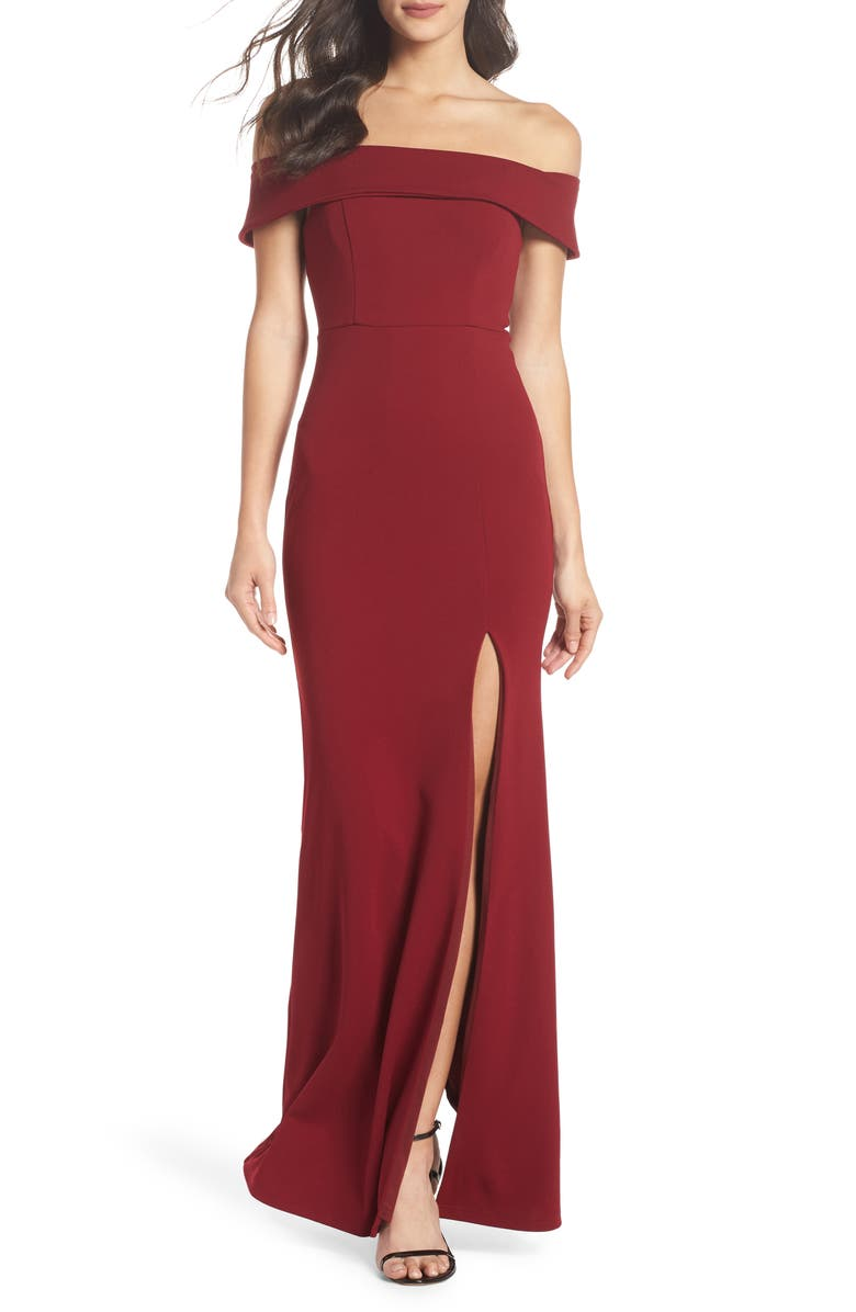 LULUS Off the Shoulder Mermaid Gown, Main, color, BURGUNDY