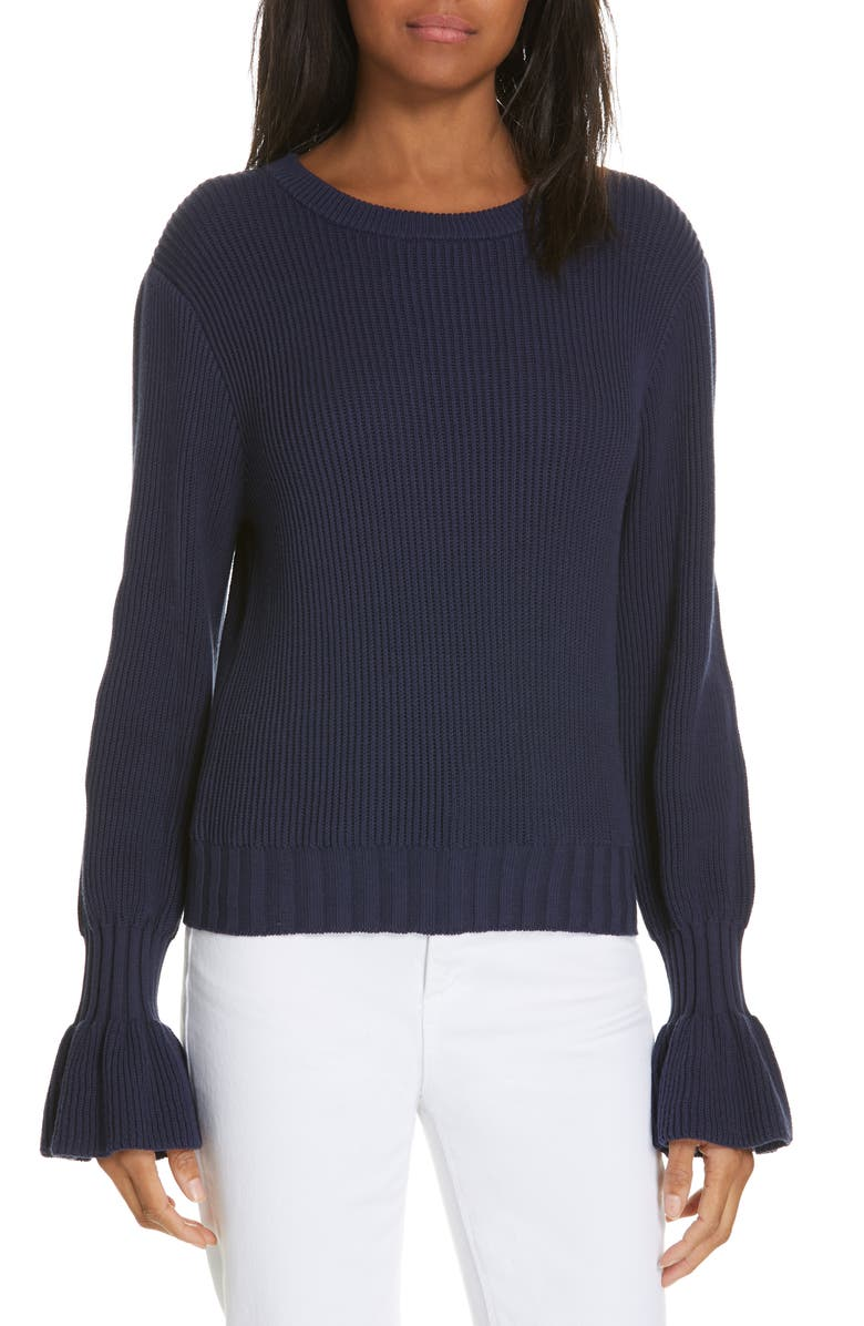 MILLY Fisherman Flounce Sleeve Sweater, Main, color, 400