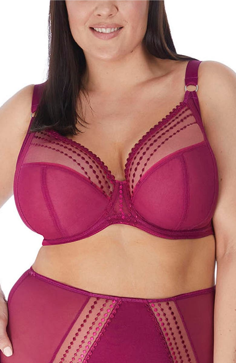 ELOMI 'Matilda' Underwire Plunge Bra, Main, color, BERRY