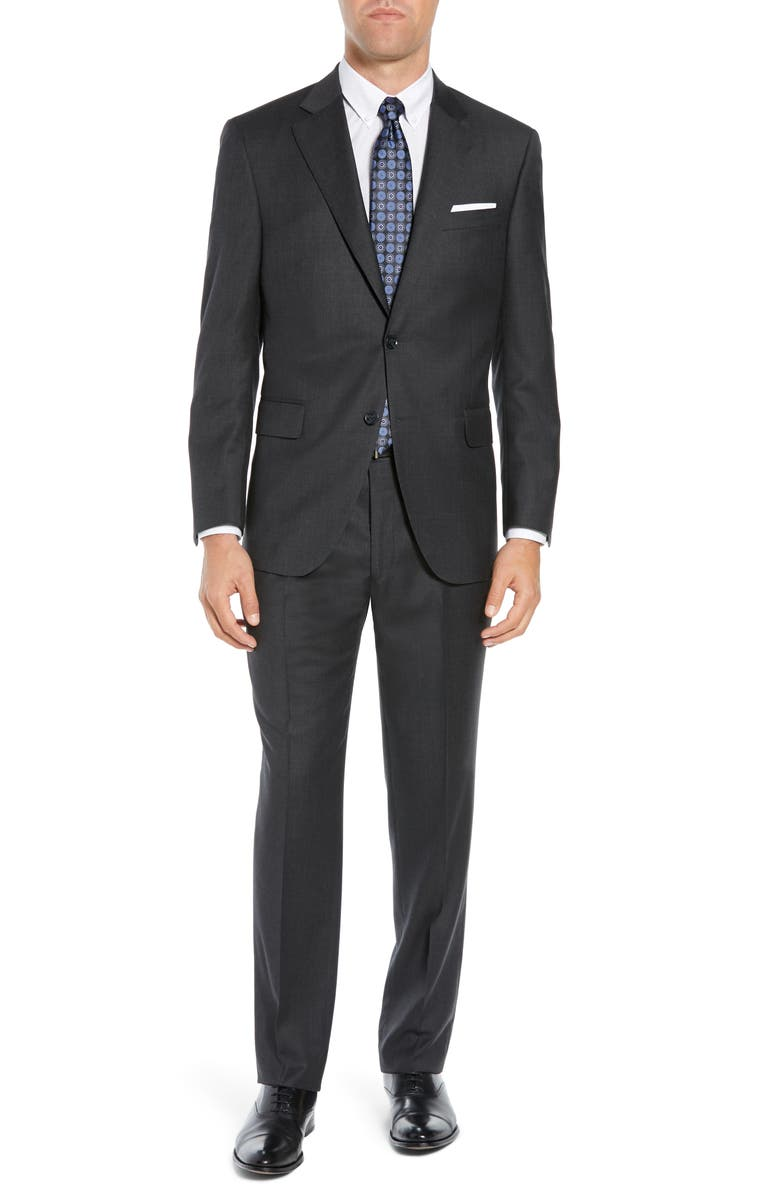 PETER MILLAR Classic Fit Wool Suit, Main, color, CHARCOAL