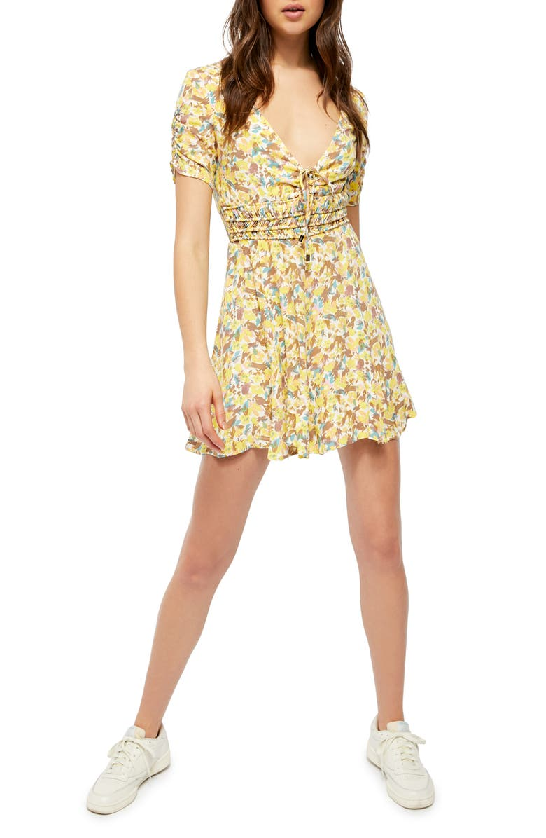 FREE PEOPLE Forget Me Not Floral Minidress, Main, color, LILY COMBO