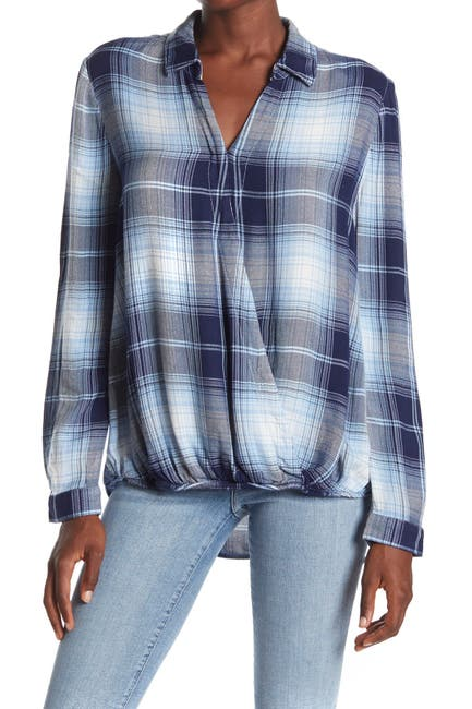 Image of BeachLunchLounge Harper Wrap Front Bias Plaid Top