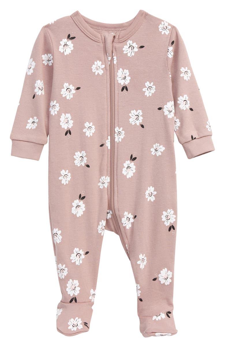 PETIT LEM Floral Print Fitted Organic Cotton One-Piece Pajamas, Main, color, 701 LT. PURPLE
