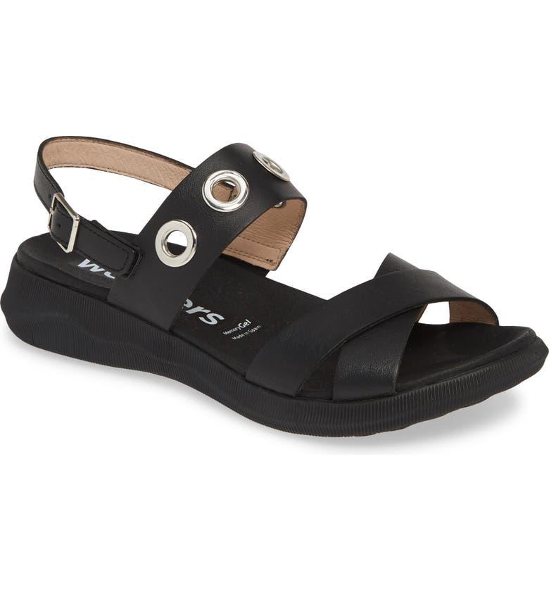 WONDERS Quarter Strap Sandal, Main, color, PERGAMENA BLACK LEATHER