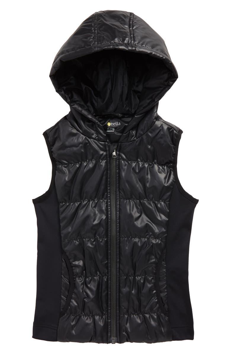 ZELLA GIRL Zella Shine Quilted Hooded Vest, Main, color, BLACK