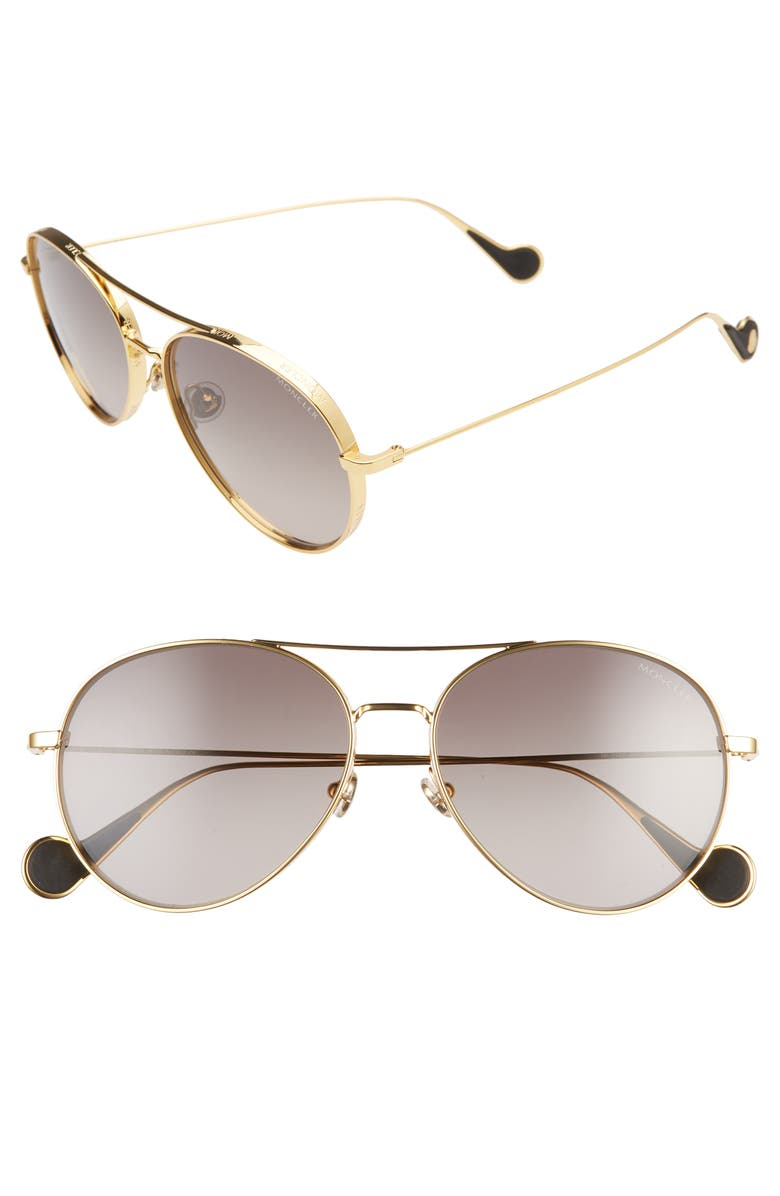 MONCLER 57mm Aviator Sunglasses, Main, color, SHINY GOLD/ GRADIENT GREY