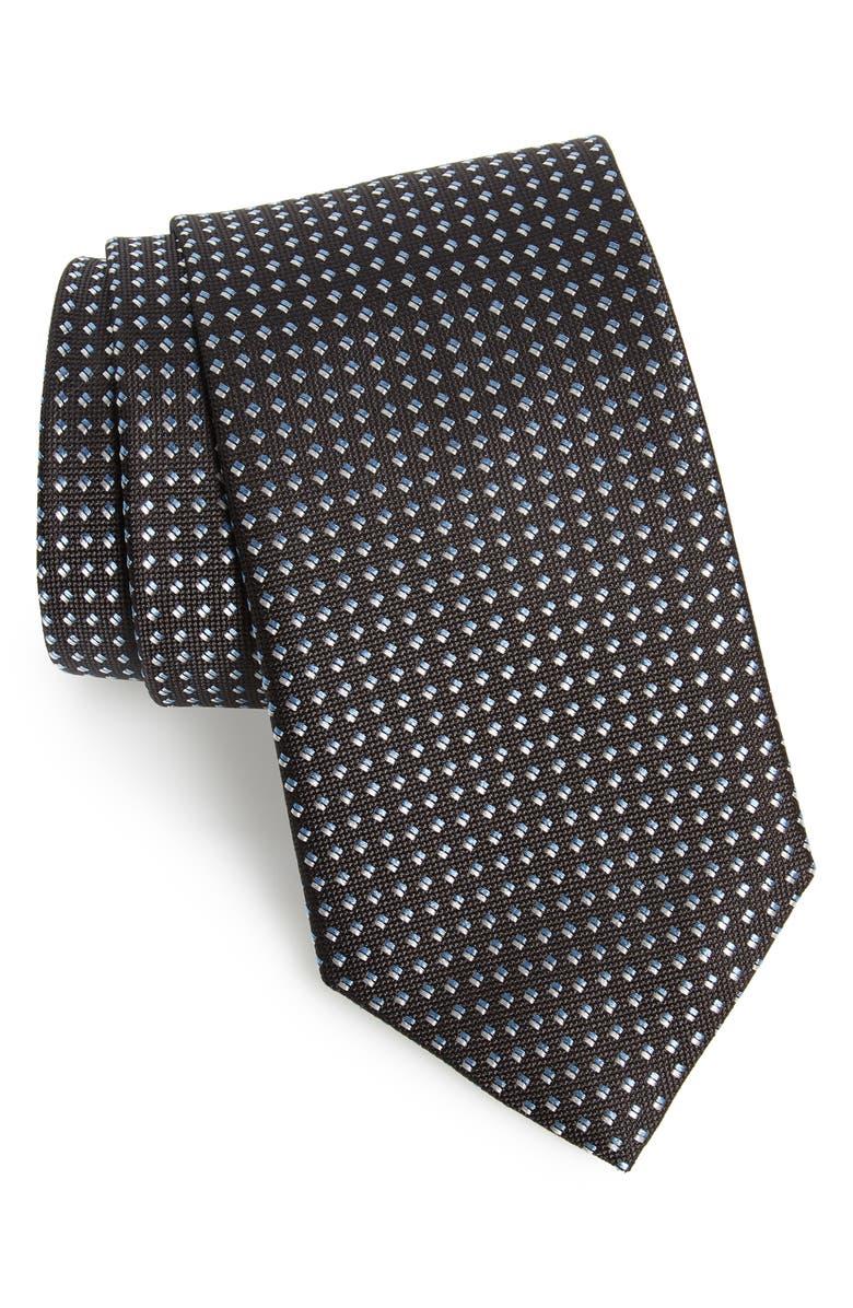 DAVID DONAHUE Neat Silk Tie, Main, color, BLACK