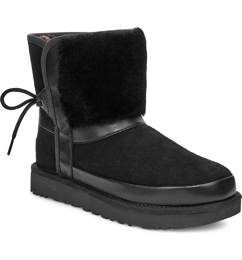 UGG<SUP>®</SUP> Classic Bow Genuine Shearling Bootie, Main, color, BLACK SUEDE