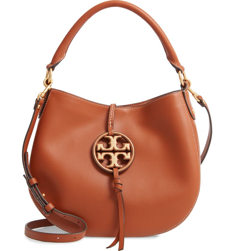 TORY BURCH Mini Miller Leather Hobo Bag, Main, color, AGED CAMELLO