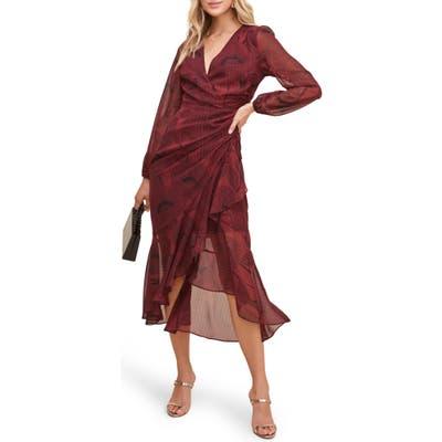 Astr The Label Floral Print Long Sleeve Faux Wrap Dress