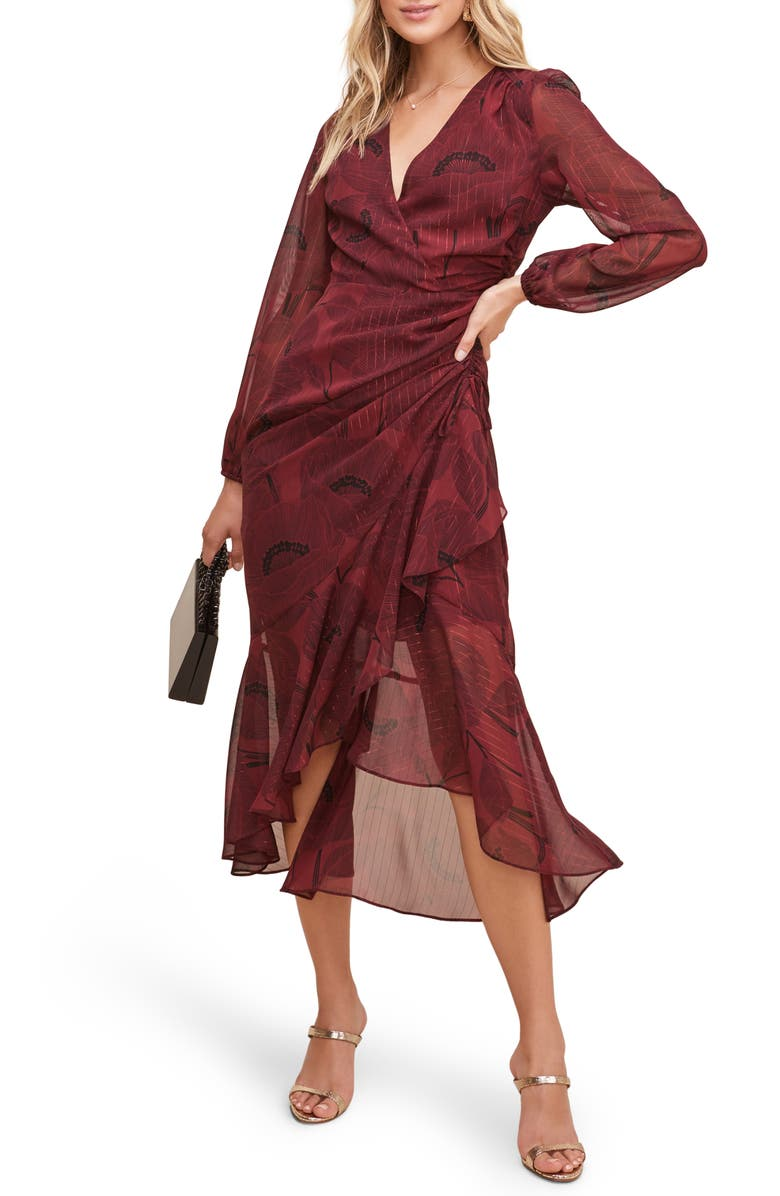 ASTR THE LABEL Floral Print Faux Wrap Dress, Main, color, WINE FLORAL