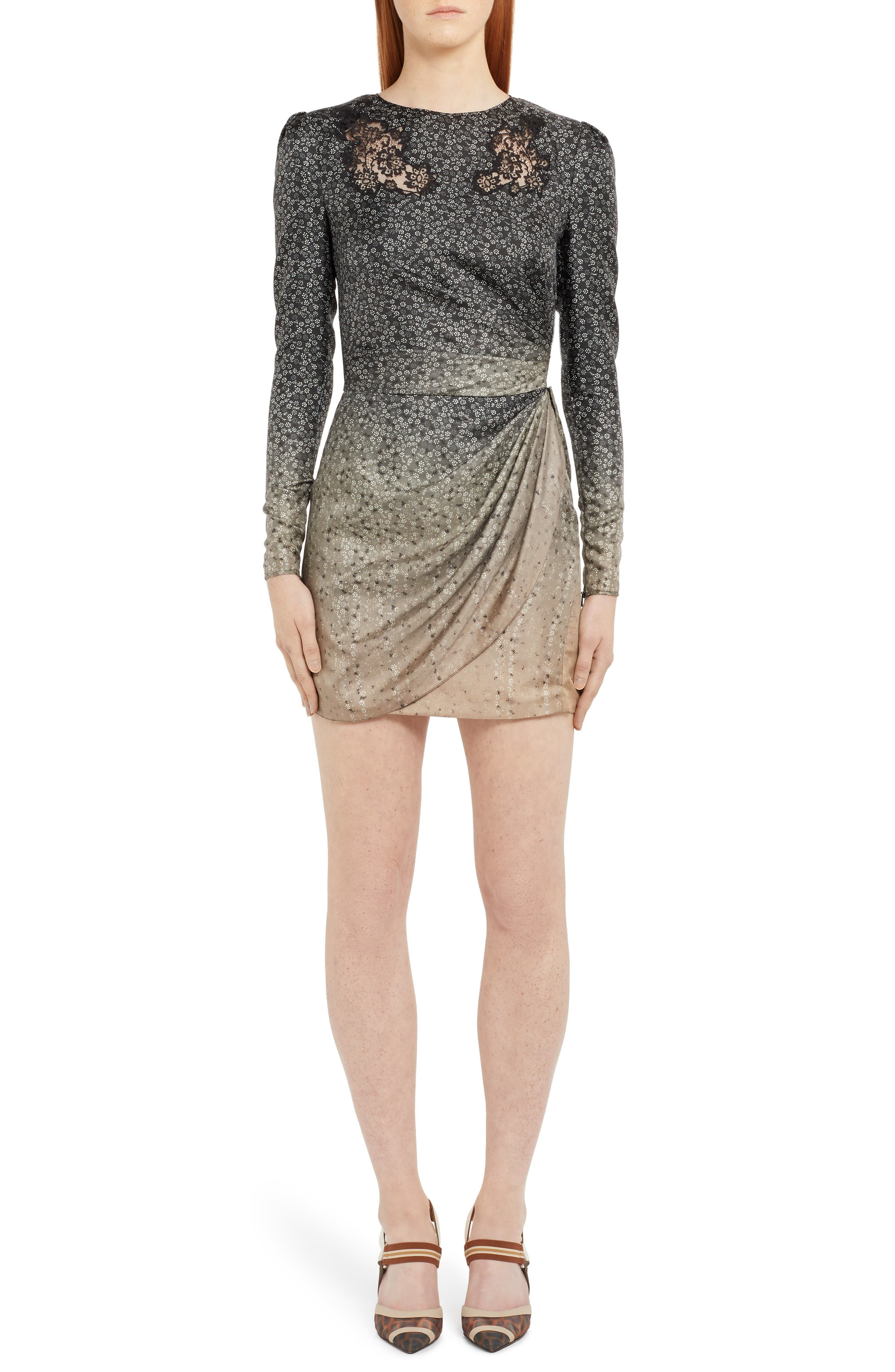 Fendi Long Sleeve Lace Inset Degrade Silk Minidress, US / 40 IT - Metallic