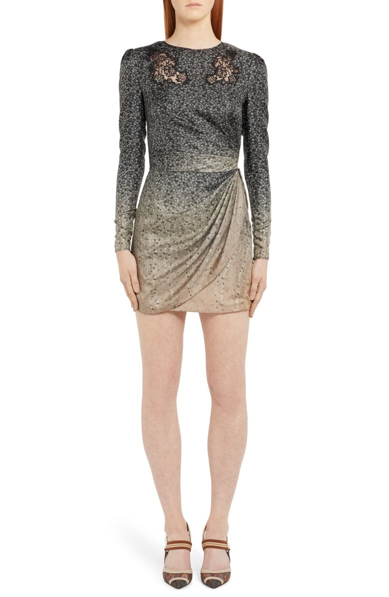 FENDI Long Sleeve Lace Inset Degradé Silk Minidress, Main, color, BEIGE