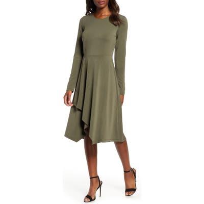 Leota Gemma Crepe Pleat Knit Dress, Green