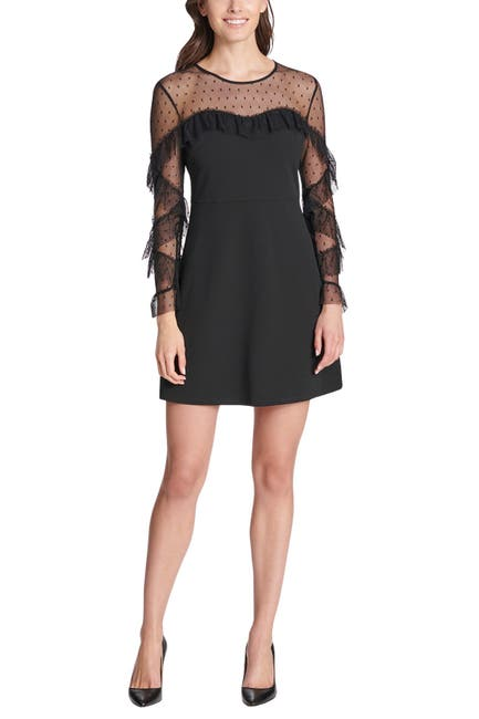 Image of Kensie Ruffled Dot Mesh Long Sleeve Crepe Mini Dress