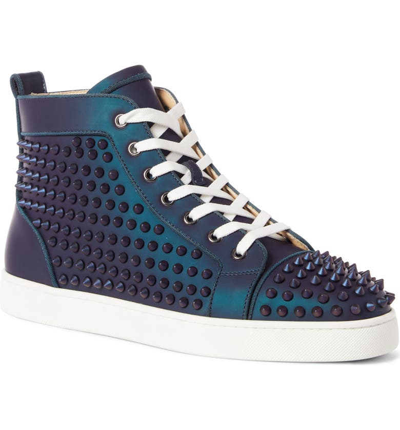 CHRISTIAN LOUBOUTIN Louis Orlato Gommato High Top Sneaker, Main, color, TURQUOISE/ PURPLE/ ABY